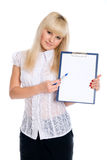 Beautiful young woman holding a blank sheet Stock Photo