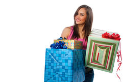 Woman holding boxes with gifts Royalty Free Stock Photos