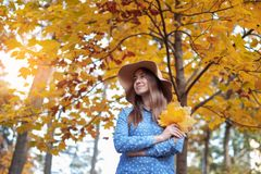 Beautiful young woman holding a bunch of autumn leaves. Gorgeous young woman in autumn in park with big yellow leaves, smiling and enjoying nature. Natural royalty free stock images
