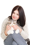 Beautiful young woman holding a cat, isolated against white background Stock Images