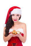 Beautiful young woman holding Christmas balls. Isolated. Xmas and New Year preparation Stock Images