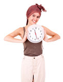 Beautiful young woman holding clock Royalty Free Stock Image