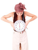 Beautiful young woman holding clock Stock Images