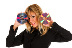 Beautiful young woman holding compact disc Royalty Free Stock Photos