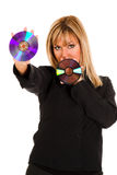 Beautiful young woman holding compact disc Stock Photography