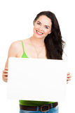 Beautiful young woman holding copyspace Royalty Free Stock Image