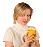 Beautiful young woman holding cup Royalty Free Stock Image