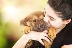 Free Beautiful Young Woman Holding Cute Puppy Outdoors Royalty Free Stock Photo - 113402605