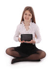 Beautiful young woman holding digital tablet Stock Image