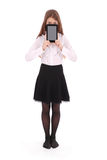 Beautiful young woman holding digital tablet Stock Photo