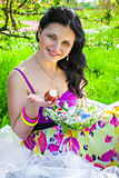 Beautiful young woman holding easter eggs Stock Images