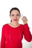 Beautiful young woman holding eye drop bottle Royalty Free Stock Image