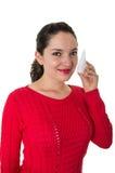 Beautiful young woman holding eye drop bottle Stock Photos