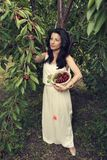 Beautiful young woman holding full white bucket with cherries in the orchard shooting from above royalty free stock images