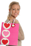 Beautiful Young Woman Holding Gift Bag Royalty Free Stock Photo
