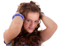 Beautiful young woman, holding her hair with his h Royalty Free Stock Photos