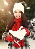 Beautiful young woman holding ice skate Royalty Free Stock Images