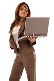 Beautiful young woman holding laptop Royalty Free Stock Images