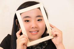 Beautiful Young Woman Holding Picture Frame Stock Photos