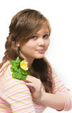 Beautiful young woman holding plant Royalty Free Stock Image
