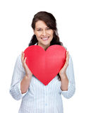 Beautiful young woman holding red heart on white Stock Photography