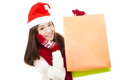 Beautiful young woman holding shopping bags. Christmas shopping concept Stock Photography