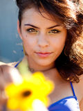 Beautiful young woman holding sunflower Royalty Free Stock Image
