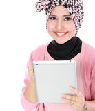Beautiful young woman holding tablet computer Stock Photos