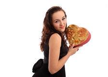 Beautiful young woman holding Valentines Day gift Royalty Free Stock Photo
