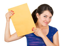 Beautiful young woman holding yellow blank sign Royalty Free Stock Image