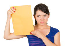 Beautiful young woman holding yellow blank sign Stock Images