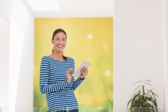 Young woman at home websurfing Royalty Free Stock Photos