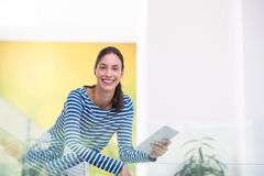 Young woman at home websurfing Stock Photography