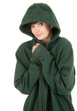 Beautiful young woman in hood Stock Photo