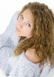 Beautiful Young Woman in Hospital Gown Crying Royalty Free Stock Image