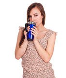 Beautiful young woman with hot drink Stock Photo