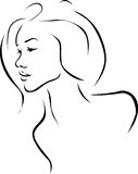 Beautiful young woman illustration profile - black line Stock Photo