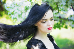 Beautiful Young Woman In Blooming Gardens Stock Photography