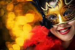 Beautiful Young Woman In Carnival Mask Stock Photos