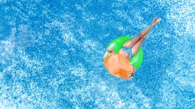 Free Beautiful Young Woman In Hat In Swimming Pool Aerial Top View From Above, Young Girl In Bikini Relaxes On Inflatable Ring Stock Images - 156888244
