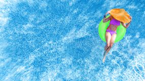 Free Beautiful Young Woman In Hat In Swimming Pool Aerial Top View From Above, Young Girl In Bikini Relaxes On Inflatable Ring Stock Photo - 156888450