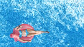 Free Beautiful Young Woman In Hat In Swimming Pool Aerial Top View From Above, Young Girl In Bikini Relaxes On Inflatable Ring Stock Photo - 156888590