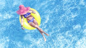 Free Beautiful Young Woman In Hat In Swimming Pool Aerial Top View From Above, Young Girl In Bikini Relaxes On Inflatable Ring Stock Photo - 156888760