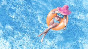 Free Beautiful Young Woman In Hat In Swimming Pool Aerial Top View From Above, Young Girl In Bikini Relaxes On Inflatable Ring Stock Photography - 156888932