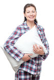 Beautiful Young Woman In Pajama With Pillow Posing On White Royalty Free Stock Photos