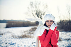 Beautiful Young Woman In The Winter Park Royalty Free Stock Photos