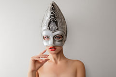 Free Beautiful Young Woman In Venetian Carnival Mask Royalty Free Stock Photos - 36875058