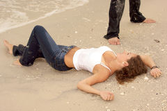Beautiful Young Woman In Wet Jeans At Beach Royalty Free Stock Photos