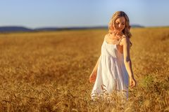 Free Beautiful Young Woman In Wheat Field At Sunset Outdoor Royalty Free Stock Photos - 153859088