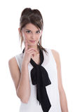Beautiful young woman isolated looking pensive. Royalty Free Stock Photography